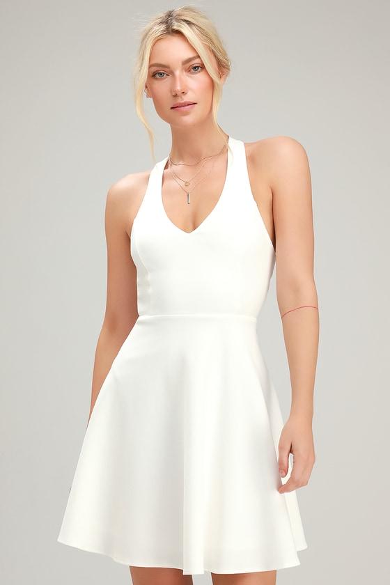 130337695844 Flirty White Dress - Skater Dress - Strappy Dress - Skater