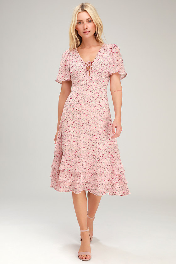 1930s Day Dresses, Tea Dresses, House Dresses Renee Blush Pink Floral Print Ruffled Lace-Up Midi Dress - Lulus $69.00 AT vintagedancer.com