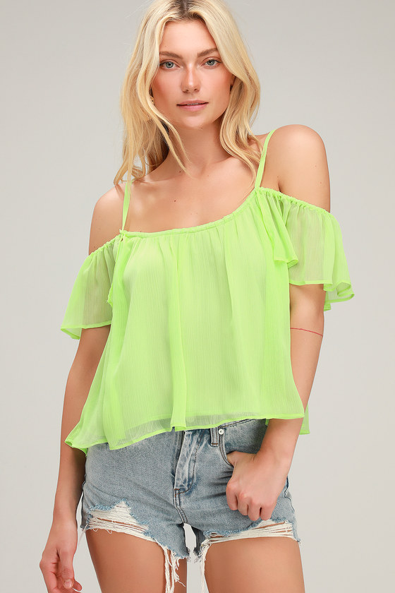 271e2cf2bd5ebf Lovely Lime Green Top - Off-The-Shoulder Top - Cold Shoulder Top