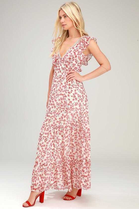 9c332ebd1a8 Cute Red and White Maxi Dress - Floral Print Maxi - Chiffon Maxi