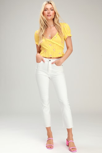 272def2ca7d La Vida White High-Waisted Cropped Jeans