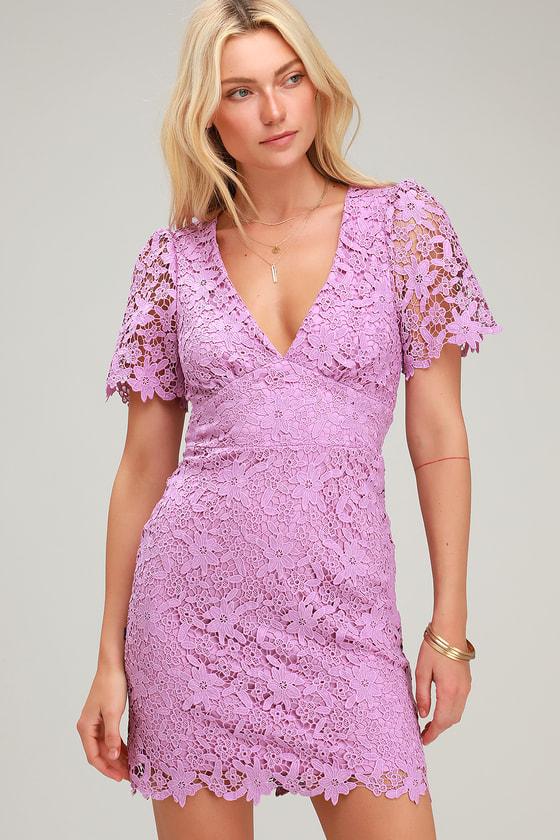 7cc7baf09ae Cute Lavender Lace Dress - Lace Mini Dress - Short Sleeve Dress