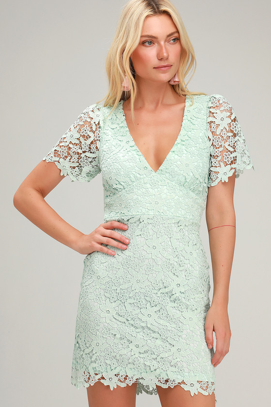 45e60928713 Cute Mint Lace Dress - Lace Mini Dress - Short Sleeve Dress