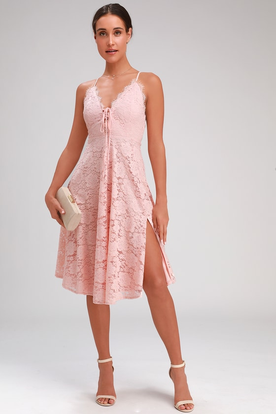 e4041d7c9c Blush Pink Lace Dress - Lace-Up Dress - Midi Dress - Skater