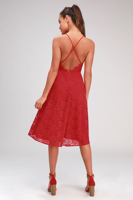 9ae0e646e8f Lovely Red Lace Dress - Lace-Up Dress - Midi Dress - Skater