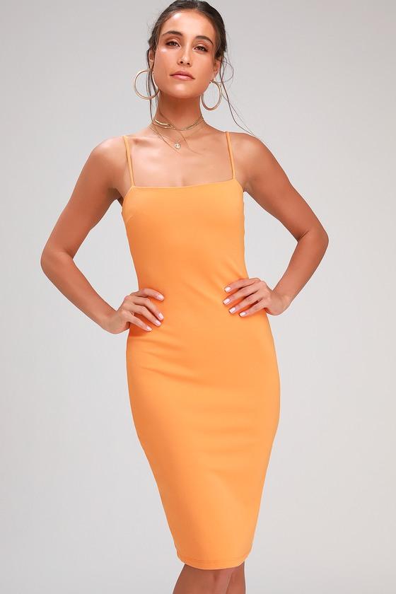 f45780ee089d10 Sexy Orange Dress - Bodycon Dress - Bodycon Midi Dress