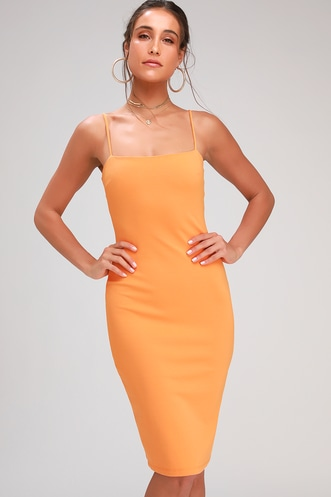 c285fb7baaec Attitude Orange Bodycon Midi Dress