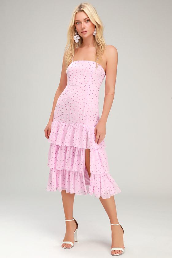 180a4ae778 Cute Midi Dress - Pink Polka Dot Dress - Ruffled Midi Dress