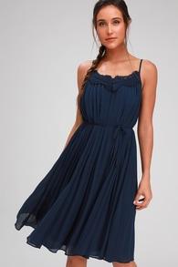 2d055c3309 Lovely Navy Blue Dress - Halter Dress - Lace Dress - Midi Dress