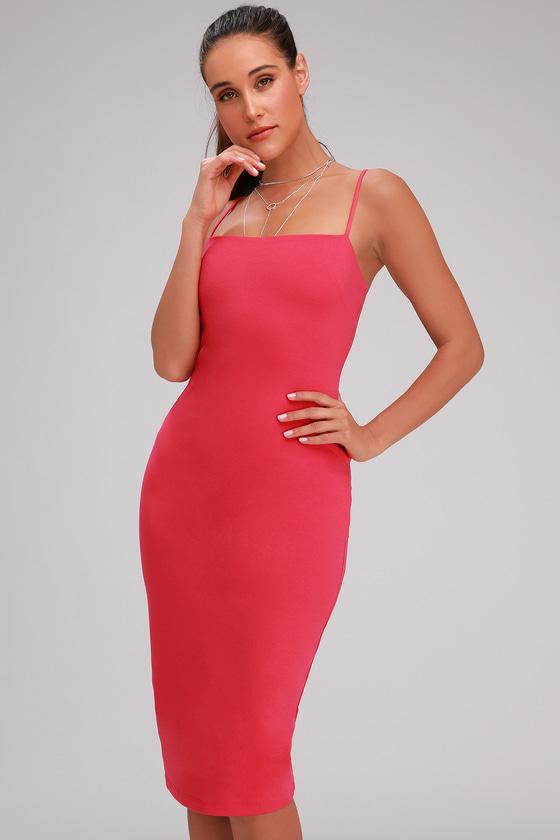 5805ebfd59f Sexy Hot Pink Dress - Bodycon Dress - Bodycon Midi Dress