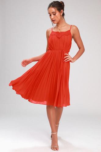 f47fab70d27e In Celebration Red Orange Pleated Midi Dress