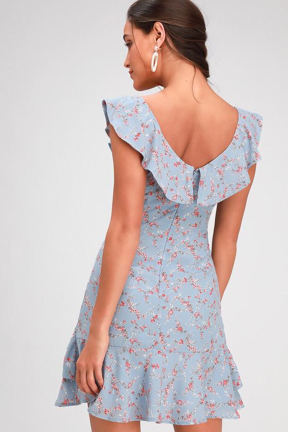 2607658b1b34 Cute Light Blue Dress - Floral Print Mini Dress - Ruffled Dress