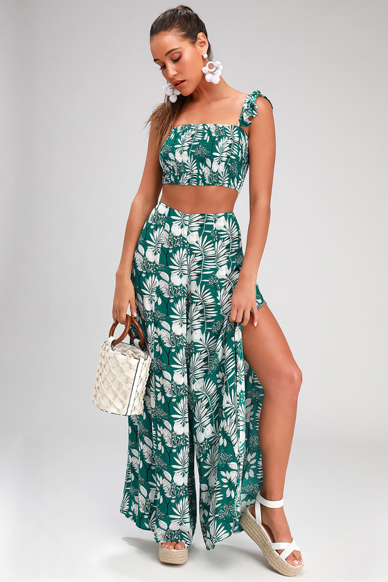 e09737e561 Cute Green Tropical Jumpsuit - 2 Piece Jumpsuit - 2 Piece Set
