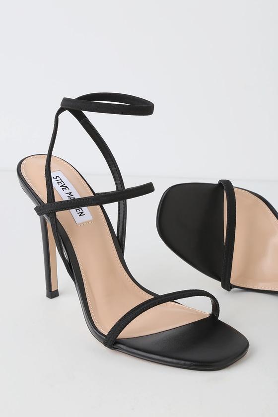 056e3283d1a3 Steve Madden Nectur - Black High Heel Sandals - Vegan heels