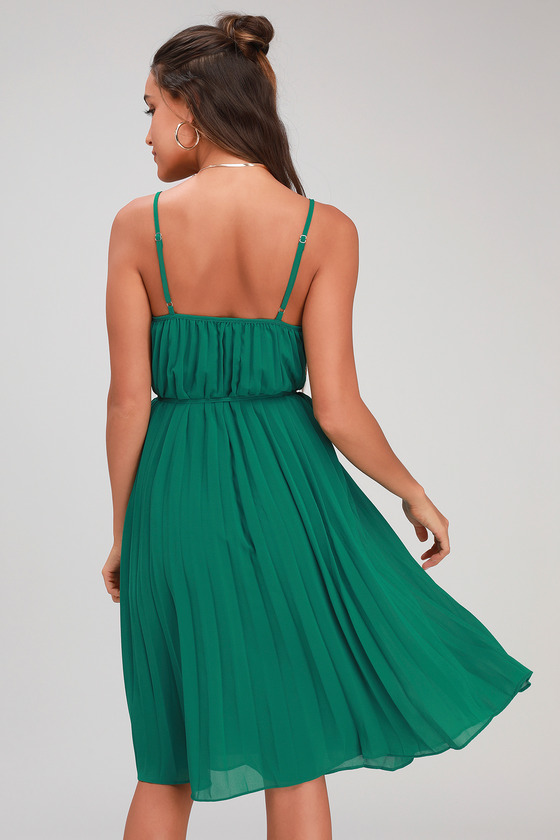 6409b142d3cf Cute Green Dress - Pleated Midi Dress - Green Midi Dress