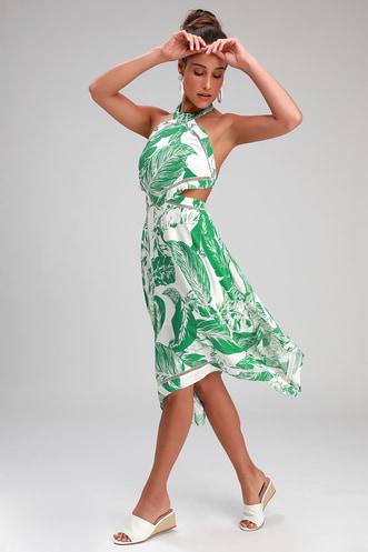 aa814cad9d62 Tropical Splendor White and Green Leaf Print Halter Dress