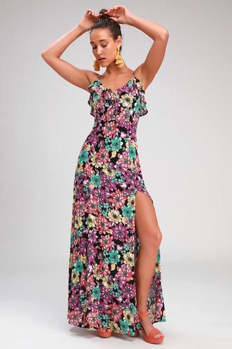 dfafb8ba2f07 Dynah Black Floral Print Sleeveless Maxi Dress