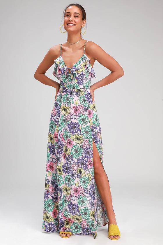 36672a1376 Cute Blush Pink Floral Print Dress - Side Slit Dress - Maxi Dress