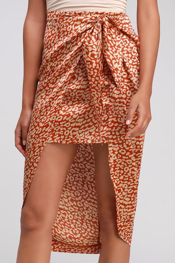 989014eff09e Red Leopard Print Skirt - Satin Skirt - Tie-Front High-Low Skirt