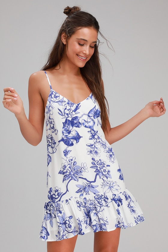 15643539bb20 Blue and White Floral Print Dress - Ruffled Shift Dress - Dress