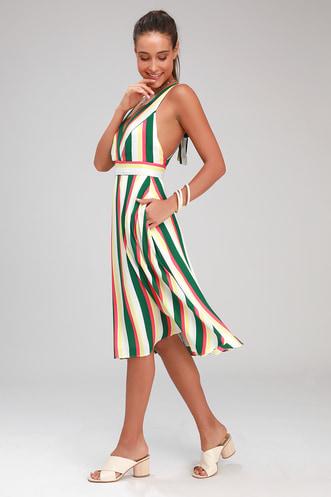 64eb95b2e58563 My Passions White and Green Multi Stripe Halter Midi Dress