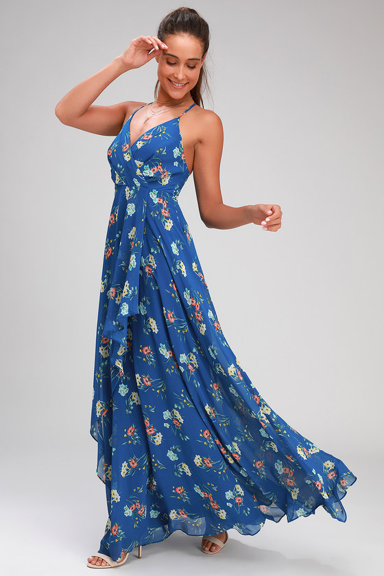 ROMANCE ABOUND ROYAL BLUE FLORAL PRINT SURPLICE MAXI DRESS