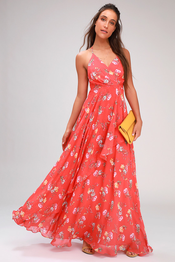 Romance Abound Coral Red Floral Print Surplice Maxi Dress - Lulus