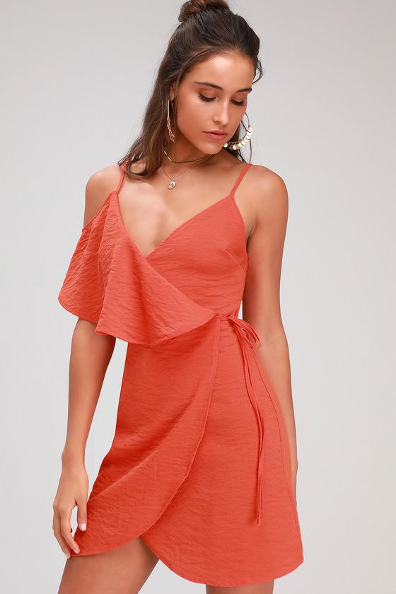 d5ac3da121f Cute Orange Wrap Dress - Mini Dress - Cold-Shoulder Mini Dress