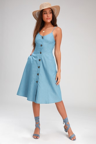 5058416db6515 Day at the Park Light Blue Chambray Button-Front Midi Dress