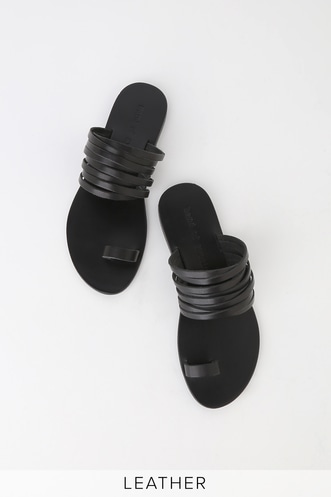237417e1487 Iona Black Leather Strappy Flat Sandals