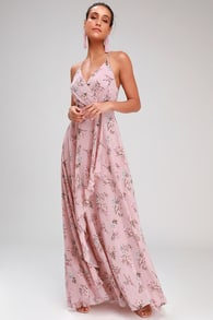 de4116ef863 Romance Abound Mauve Pink Floral Print Surplice Maxi Dress