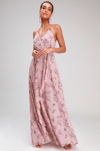 22f2a88c9c5 Romance Abound Mauve Pink Floral Print Surplice Maxi Dress