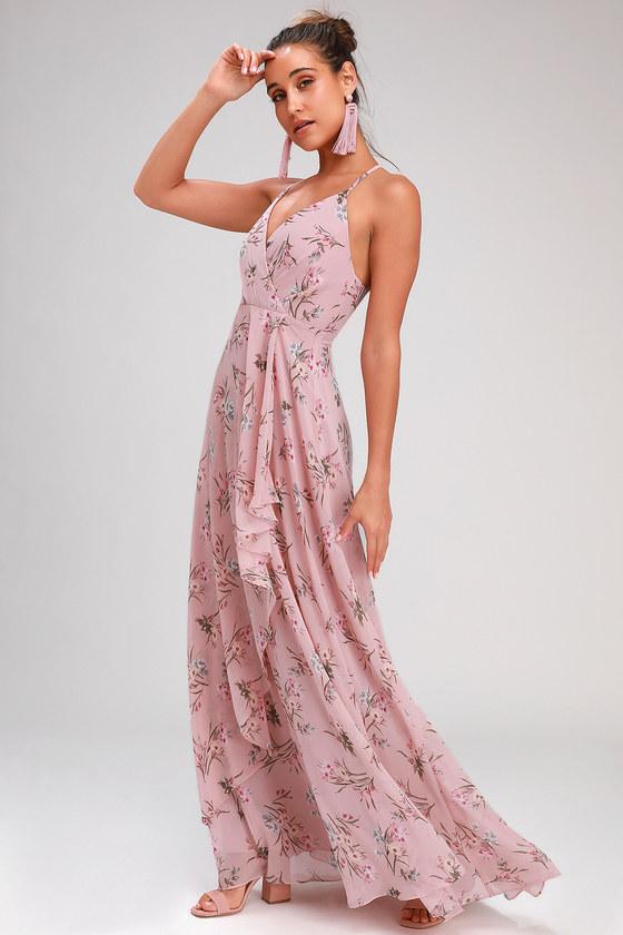 Romance Abound Mauve Pink Floral Print Surplice Maxi Dress - Lulus