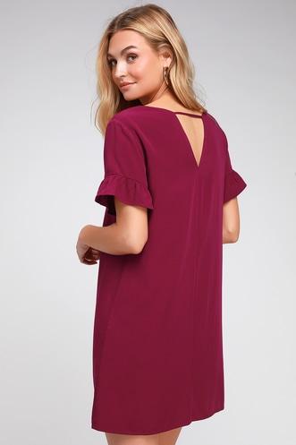 3de50f59b4821e Chic of Perfection Wine Red Shift Dress