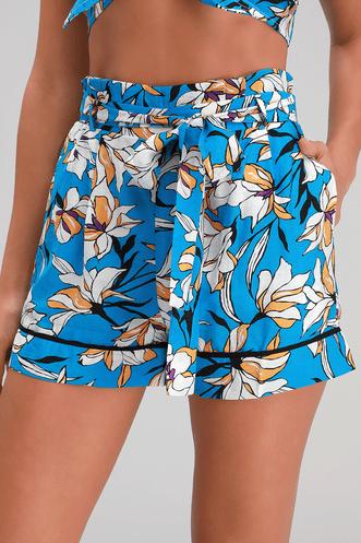 b261685c5 Leblon Blue Floral Print Paperbag Waist Shorts