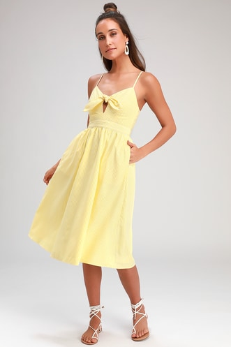 d6172259dc0b Joyful Days Yellow Striped Knotted Front Midi Dress
