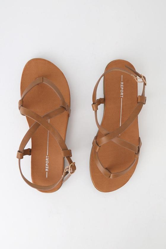 a1bddaf0ab Foyle Tan Strappy Flat Sandals