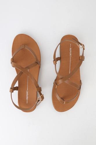 db614d7495b Foyle Tan Strappy Flat Sandals