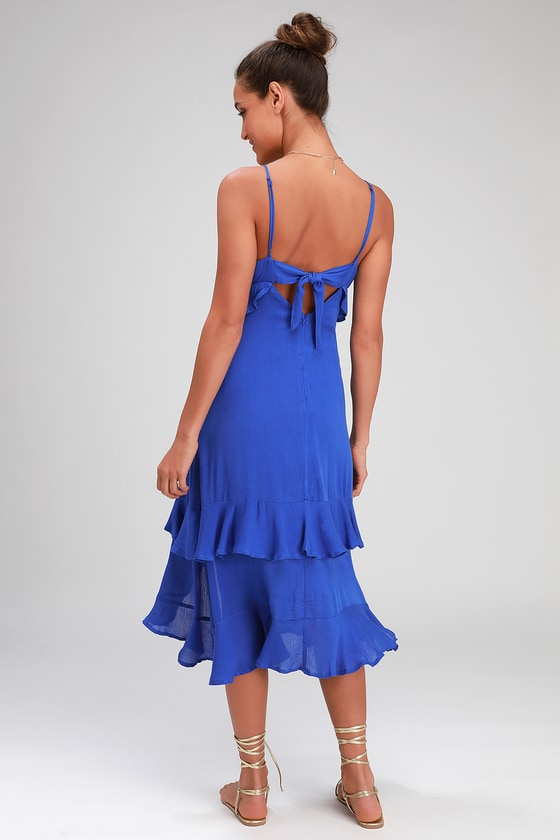 e056c1cbb1 Cute Blue Dress - Blue Midi Dress - Ruffled Dress - Midi Dress