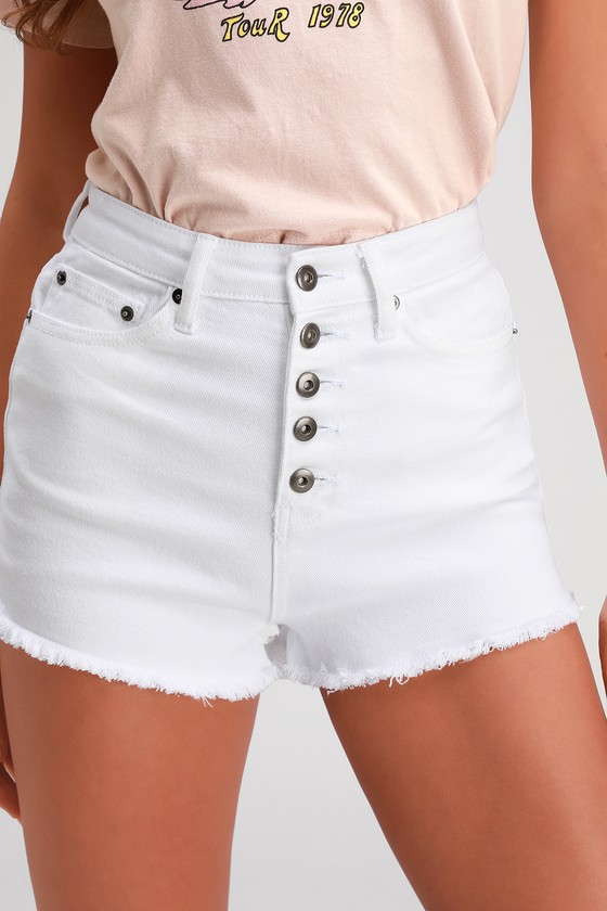 8fc65b56c3 Jack by BB Dakota Down to Business - White Denim Shorts - Shorts