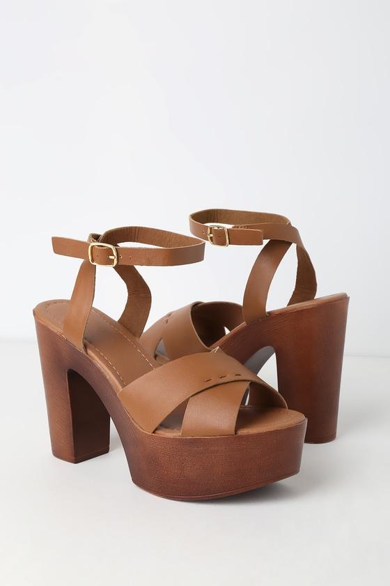60s Shoes, Boots Galilea Whiskey Platform Sandal Heels - Lulus $36.00 AT vintagedancer.com