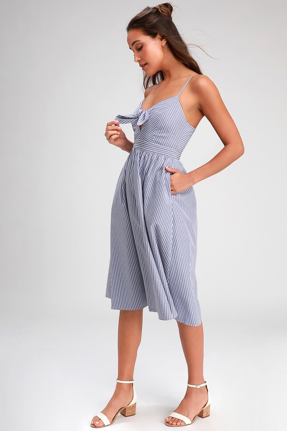 Joyful Days Blue Striped Knotted Front Midi Dress