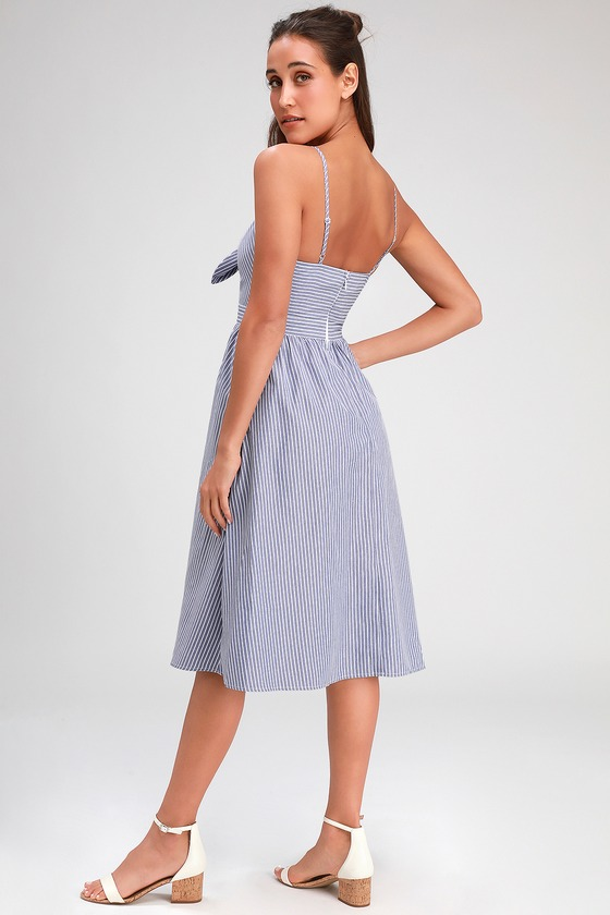 a15c7a6cb5595 Cute Striped Midi Dress - Blue Striped Dress - Tie-Front Dress