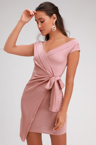 a5a579ab1d7 Rebel With a Cause Blush Pink Ribbed Knit Wrap Dress