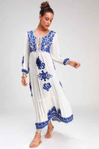 8cc03fe2050 Larkspur Blue and White Embroidered Maxi Swim Cover-Up
