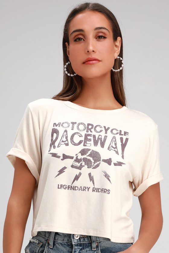 Motorcycle Raceway Beige Cropped Graphic Tee