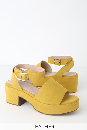 45ad0b20c9a1 Calming Influence Yellow Suede Leather Platform Heels