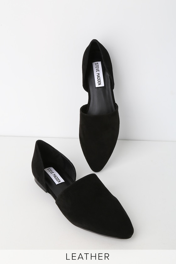 Talent Black Suede Leather D'orsay Flats by Steve Madden