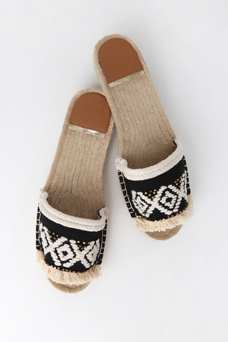 0b00f8b8126 Georgyna White and Black Embroidered Espadrille Slide Sandals