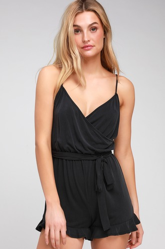 777f4be891 Katelyn Washed Black Ruffled Surplice Romper. Quick View